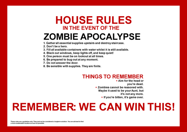 These surely will apply in case of a real zombie apocalypse