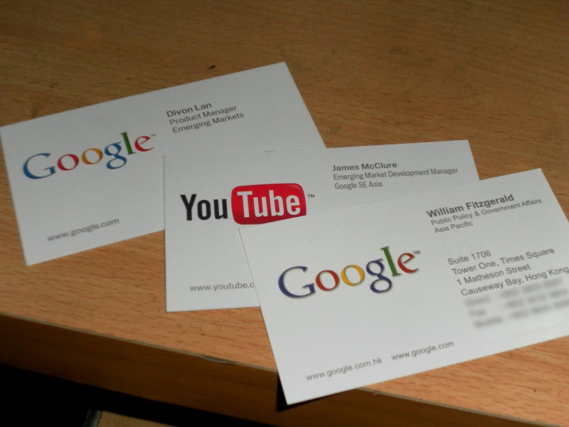 business cards from Google