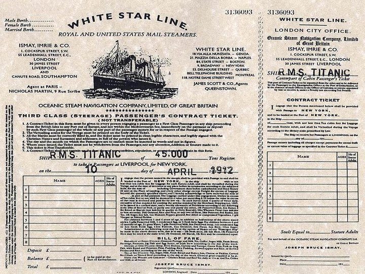 tickets of the titanic